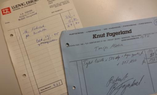 Regnskapsbilag nr 1 og 2 fra januar 1985. Brevark og konvolutter.