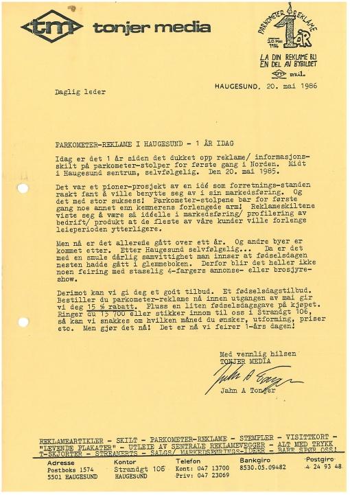 Kundebrev i anledning 1-års jubileum for parkometerreklame. Mai 1986.